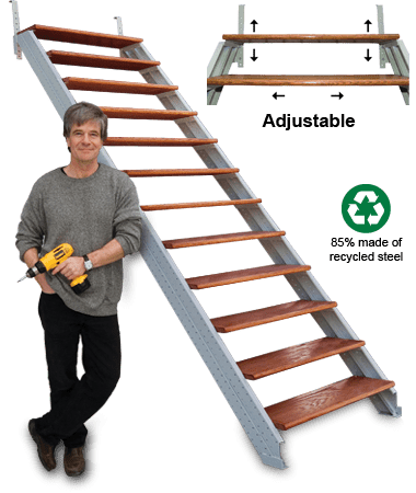 Assembled stair stringer kit demonstration